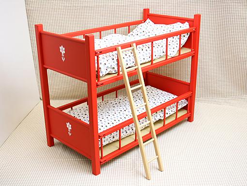 お人形用 家具 ベッド F二段ベッド〈赤・50cm〉