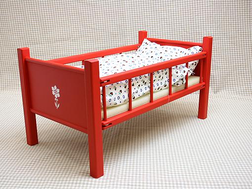 お人形用 家具 ベッド ベッド赤 40cm