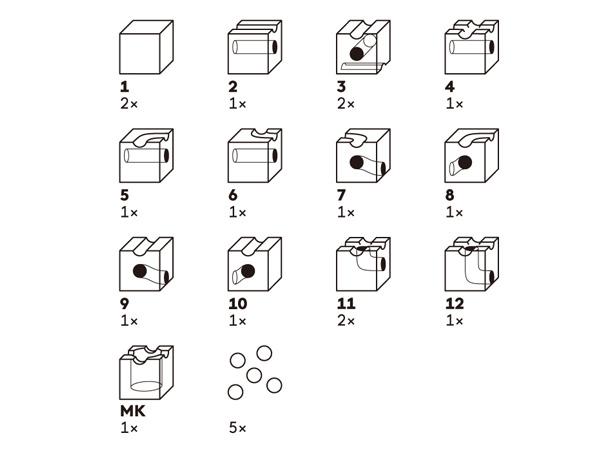 キュボロスタンダードのパーツ表です。13種類16ピースの構成を画像で紹介しています。