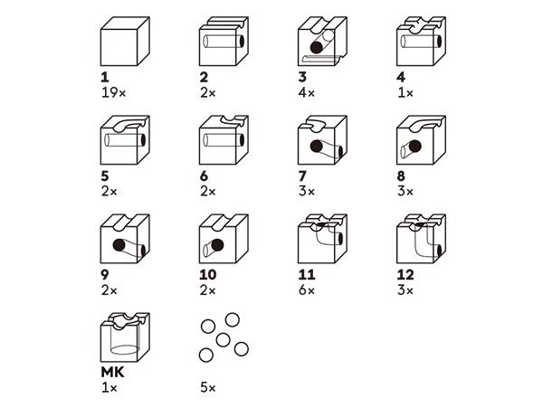 キュボロスタンダードのパーツ表です。13種類54ピースの構成を画像で紹介しています。