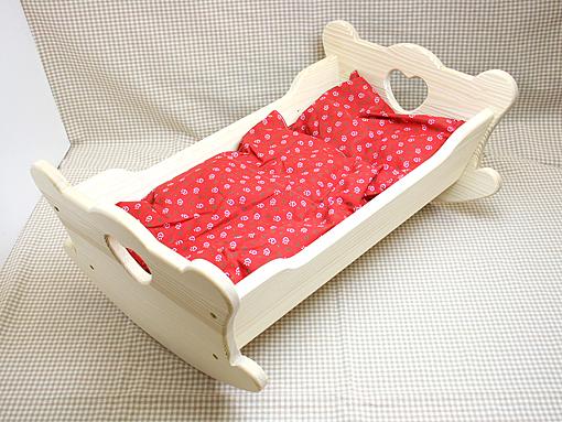 お人形用 家具 ベッド 白木ベッド ハート〈50cm〉