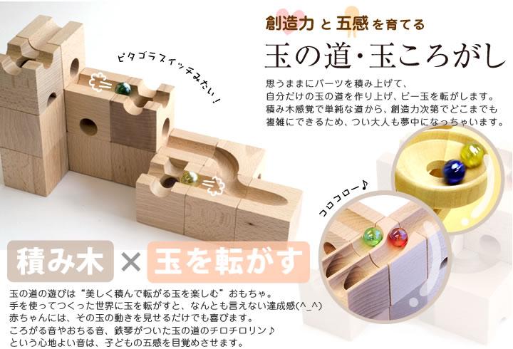 木のおもちゃ カルテット/玉の道・玉ころがし積み木
